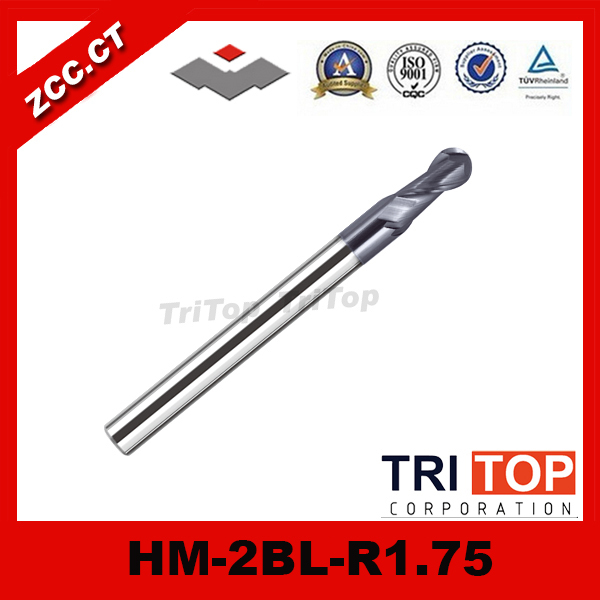 100% Guarantee  solid carbide milling cutter 68HRC ZCC.CT HM/HMX-2BL-R1.75 2-flute ball nose end mills with straight shank  2pcs lot zcc ct hmx 2es d1 5 tungsten solid carbide end mills hrc 68 milling cutter for high hardness steel machining