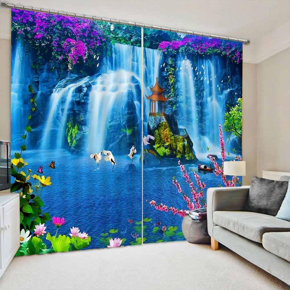 150*166 リビングルームの寝室の窓カーテンパビリオンプリントバルコニー太陽シェーディングガーデンスタイル