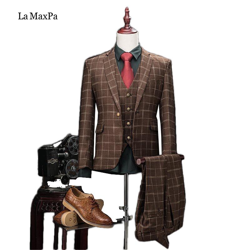 La MaxPa (jacket+pants+vest) High quality brand men suit wedding suit for man business formal suit slim fit prom groom party