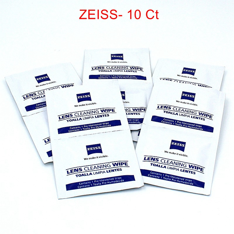 Zeiss Pre-moistened Lens Wipes Cleaning for Eyeglass Lenses Sunglasses Camera Lenses Cell Phone Laptop Lens Clothes Pack of 10ct