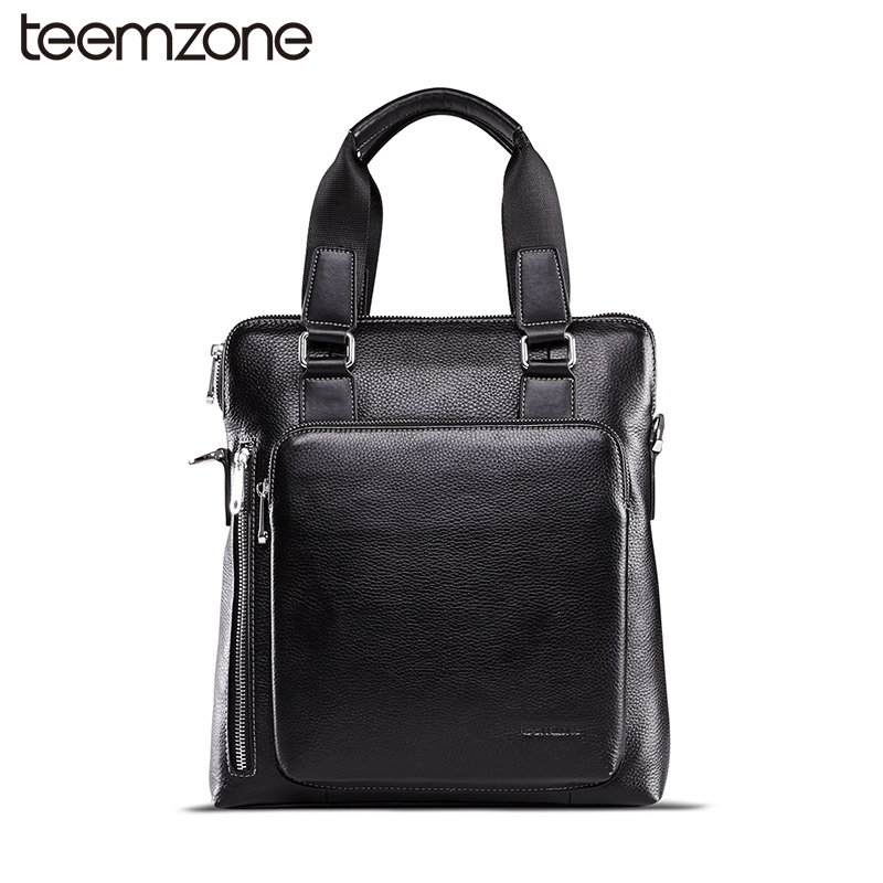teemzone New  British Style Mens Genuine Leather Business Casual Messenger Shoulder Bag Tablet Satchel Cross Body Book Bag T0823 teemzone men s genuine leather shoulder messenger cross body satchel day fanny zipper waist pack handbag bag wallet s4001