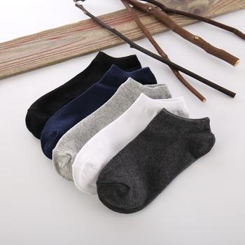 5 pares de nuevos calcetines de verano para hombre, calcetines tobilleros cortos de algodón Negro Blanco, calcetines casuales de Color puro, tamaño 39-43