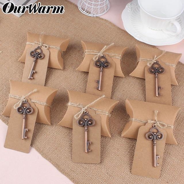 OurWarm Rústico Papel Kraft Caixas de Bombons de Casamento Opener Keychain Presente para Convidados Lembranças De Casamento Birthday Party Favor Decoração