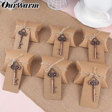 OurWarm Rustic Wedding Kraft Paper Candy Gift Boxes Bags Keychain Favors for Guests Birthday Party Decoration