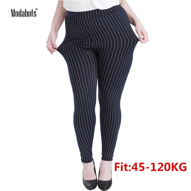 Plus Size Women Leggings 5XL Faux Denim Jeans Jeggings Black Vertical Stripes Legging Large Stretch Skinny Pencil Pants Femme