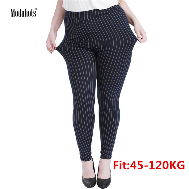Plus Size Women   Leggings   5XL Faux Denim Jeans Jeggings Black Vertical Stripes   Legging   Large Stretch Skinny Pencil Pants Femme