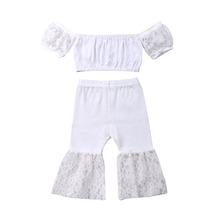 2019 Summer Toddler Kids Baby Girl Clothes Set White Lace Off Shoulder Crop Tops Flare Pants Children Clothes Girls Clothing new