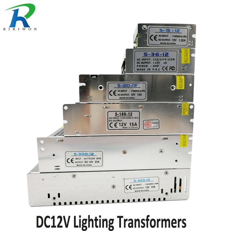 RiRi won DC 12V Power Supply Lighting Transformer driver Switch for LED Strips Adapter AC 220V 1.25A 2A 3A 10A 15A 25A 30A 33A стоимость