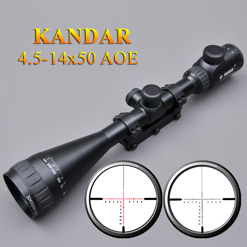 KANDAR 4.5-14x50 AOE Tactical Optics Riflescope Red Dot Reticle Fiber Optic Sight Scope Air Rifle Gun Hunting Scopes compact m7 4x30 rifle scope red green mil dot reticle with side attached red laser sight tactical optics scopes riflescope