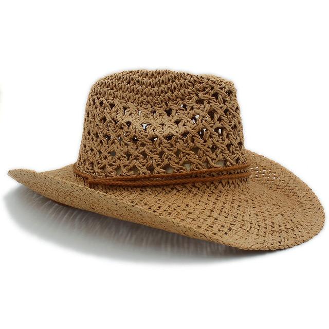 83d5db7e9e0 100% Handwork Summer Women Men Toquilla Straw Cowboy Hat For Gentleman Wide  Brim Boater Panama Jazz Hats Godfather Sombrero Cap