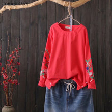 2019 Casual Floral Embroidery Cotton Linen Buttons Split Ethnic Style Women T Shirt Tops Female O Neck Long Sleeve Tshirt Femme