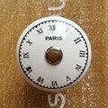 38mm Black & White Relógio Dresser Maçanetas Puxador de Gaveta do Armário Decorativo Pintado À Mão Alça de Cerâmica
