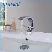 Kemaidi современные умывальник Дизайн ванной кран смеситель водопад краны горячей и холодной воды для бассейна для ванной