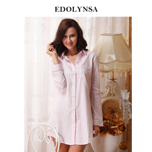 9bb7af8757 2019 Brand Striped Cotton Nightgowns Sleepwear Female Sleep Lounge Women  Indoor Clothing Sexy Pink Home Dress