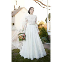 High Neck Vintage Lace Wedding Dresses 2019 Appliques Long Sleeve Wedding Dresses with Sash Beaded A Line Bridal Gown FF006