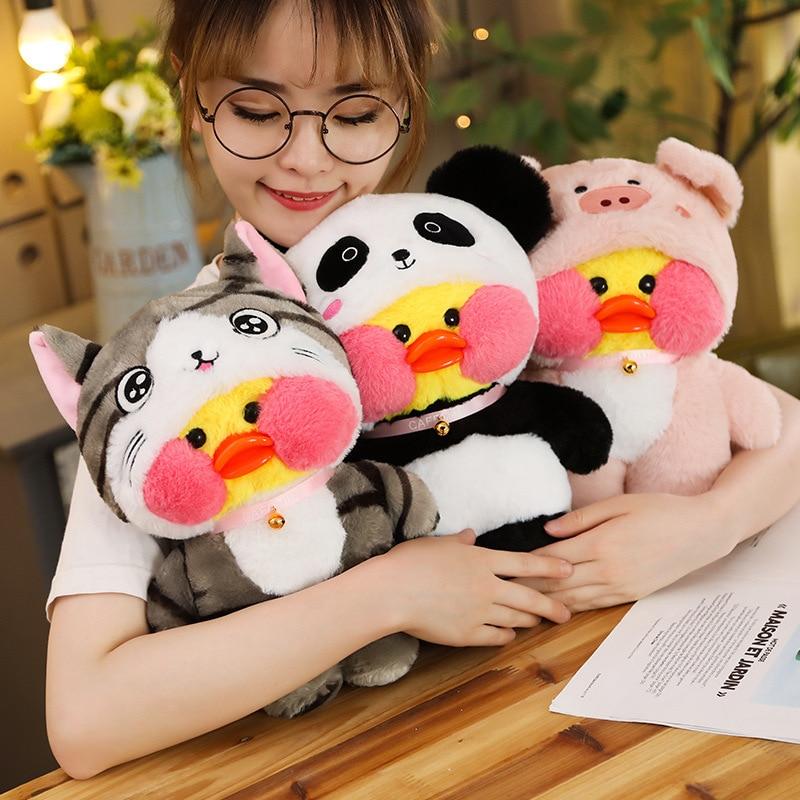 30cm LaLafanfan Cafe Duck Plush Toy Cartoon Cute Yellow Duck Stuffed Doll Soft Animal Dolls Girl Toys Birthday Gift For Children