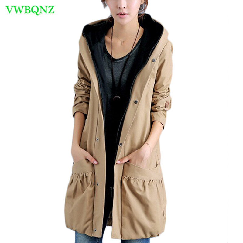 Fake two pieces Plus size Windbreaker coat Women spring Loose Long Trench coats Women's Casual Hooded Cardigan Overcoats A218-in Trench from Women's Clothing    1