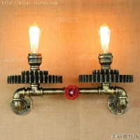 Loft Style Iron Water Pipe Lamp Edison Wall Sconce Wooden Gear Wall Light Fixtures For Home Vintage Industrial Lighting