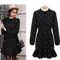2015 Spring Fall Winter Dress Women Korean Vintage Polka Dot Lace High Neck Long Sleeve Wool