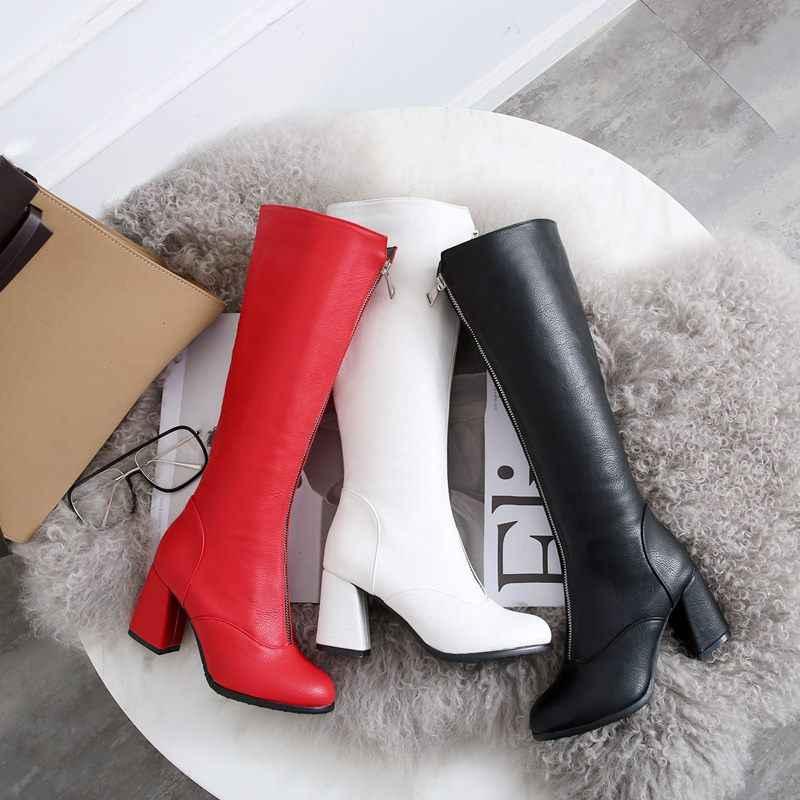 EGONERY sexy frauen schuhe rot schwarz weiß knie-hohe stiefel mode partei winter herbst metall-reißverschluss 7,5 cm high heels hohe stiefel