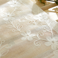 custom curtains Korean Countryside white gauze cotton yarn tulle embroidery flowers window bedroom living room balcony yarn M099