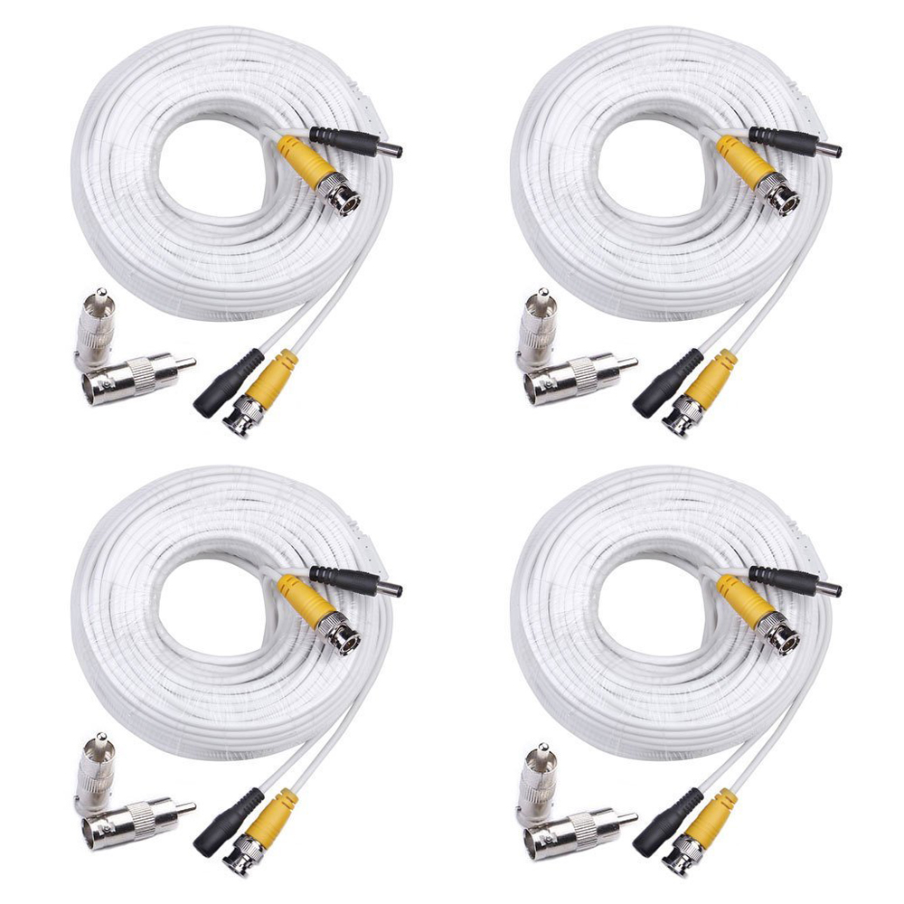 MOOL 4 Pack Security 100 Feet Pre-made Siamese BNC Video and Power Cable Ready To Go for Security Camera CCTV Systems WhiteMOOL 4 Pack Security 100 Feet Pre-made Siamese BNC Video and Power Cable Ready To Go for Security Camera CCTV Systems White