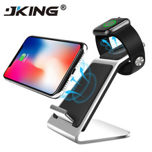 Jking 2in1 10 W Cepat Qi Wireless Charger Stand Pemegang untuk Apple Watch 4 3 2 iPhone X Max XR X 8 PLUS Dock Station(China)