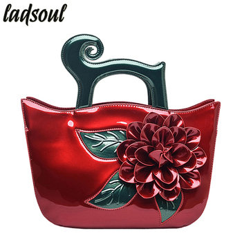 QIAODUO Good Quality Luxury Women Bag Tote Bag Big Flower Casual Female Shoulder Bag Patent Leather Floral Women Handbags A747g tote bag