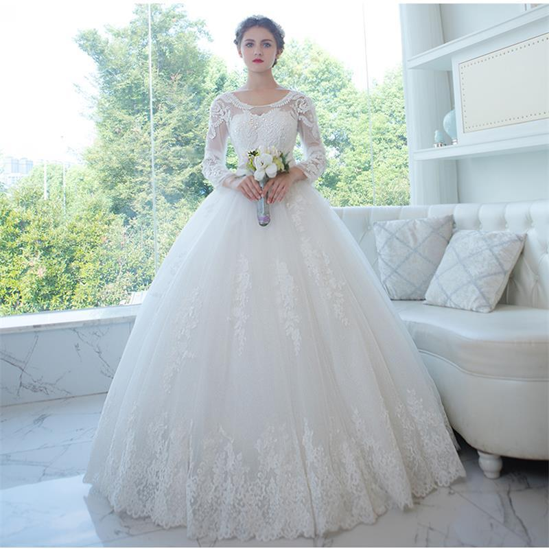 Ivory Lace Bodice Ball Gown Wedding Dress With Sheer Long: 2017 Spring New Long Sleeve Wedding Dresses Sheer Scoop