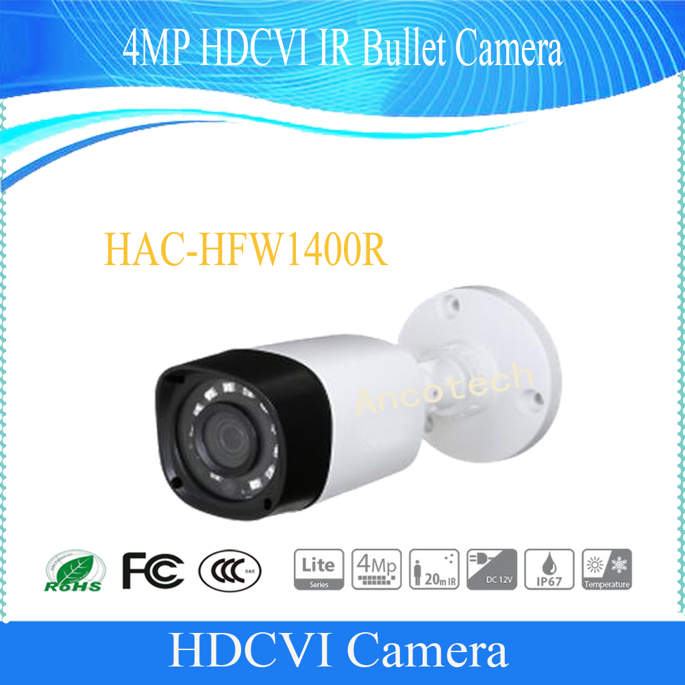 Free Shipping DAHUA Security Camera CCTV 4MP HDCVI IR Bullet Camera IP67 without Logo HAC-HFW1400R free shipping dahua cctv camera 4k 8mp wdr ir mini bullet network camera ip67 with poe without logo ipc hfw4831e se