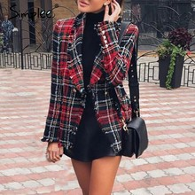 306cba2216f8f0 Simplee Casual tweed plaid blazer women 2018 Red blend winter jacket coat  mujer Fashion office ladies female blazer coat autumn