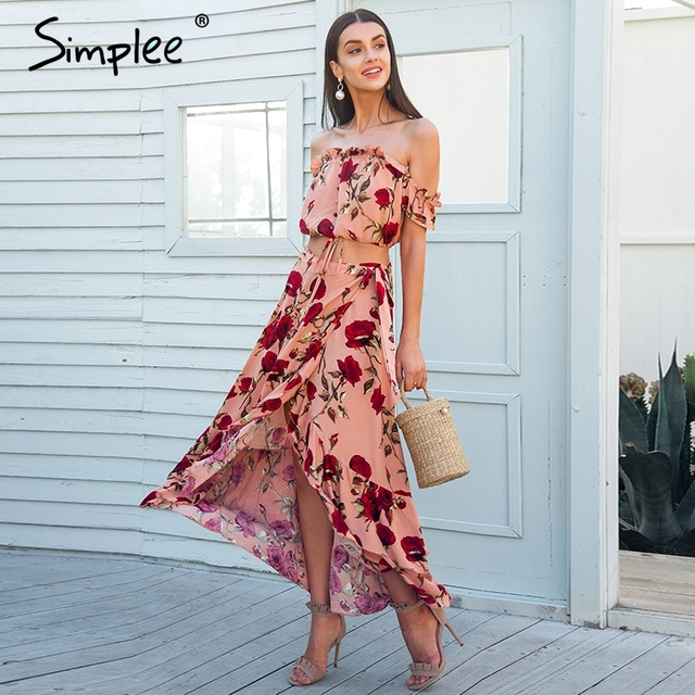 Simplee Off shoulder ruffle two piece summer dress suit Casual elastic  beach women dress maxi Backless bcf37c180