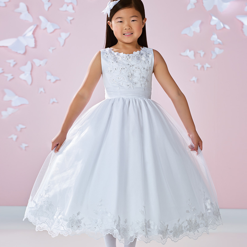 New Flower Girls Wedding Dresses Tulle Sweety Lace Appliques Sleeveless Beading Ankle Length A Line First Communion Dresses new holy pink flower girls dresses a line lace appliques 2017 wedding girl wear first communion dress vestidos de long sleeves