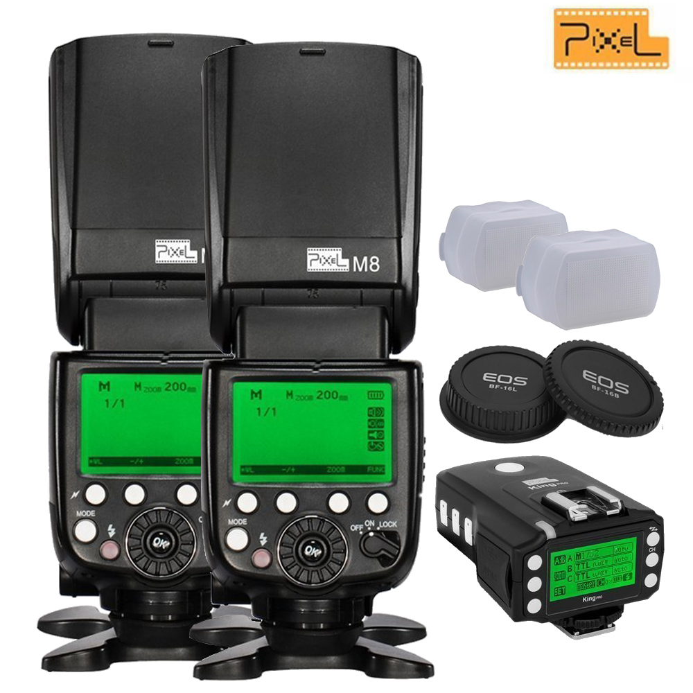 INSEESI 2pcs PIXEL M8 GN60 Flash Speedlite + Wireless TTL King pro Transceiver for Canon DSLR Cameras 1300D 60D 5D 5D Mark III