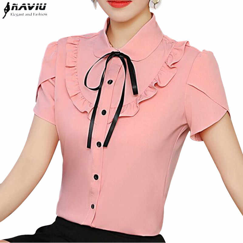 1727e566358 Elegant Bow Ruffles shirt women Fashion New summer formal slim Puff Sleeve  chiffon blouses office ladies