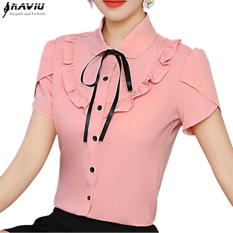 45966eec435124 Elegant Bow Ruffles shirt women Fashion New summer formal slim Puff Sleeve  chiffon blouses office ladies work plus size tops - KHAETHRIYA