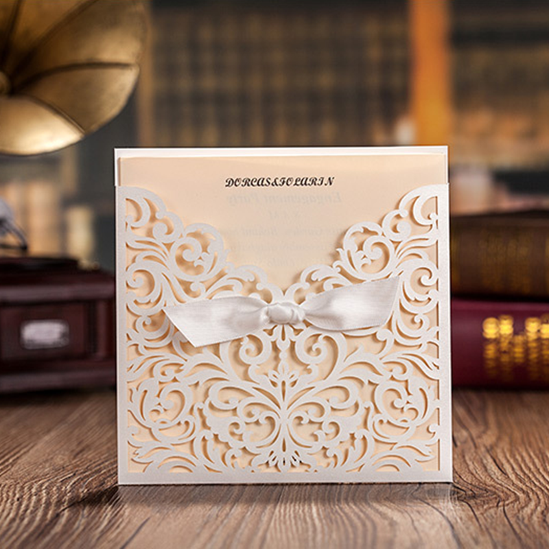 White Square Laser Cut Flower With Bowknot Lace Pocket Engagement Wedding Invitations CW5002 Card50 Pcs LotCW5002 In Cards From Home