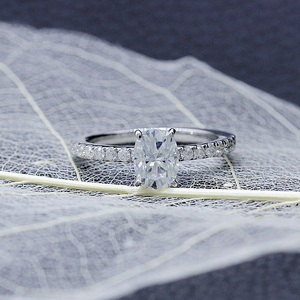 Image 4 - Transgems 1ct Carat Moissanite 5X7MM Silght Blue Color Engagement Ring 10K White Gold for Women Wedding Gift with Accents
