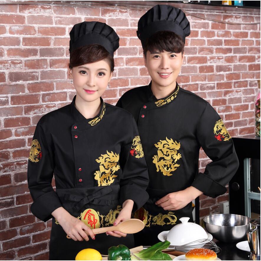 Hôtel Chef veste Service alimentaire à manches longues Restauant Chef uniforme Chef vêtements brodés cuisine cuisinier porter pour hommes et femmes