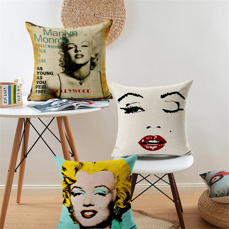 Marilyn monroe french chair - Square European Retro Star Marilyn Monroe Colorful Home Decor Cushion Cover For Sofa Chair Seat Car