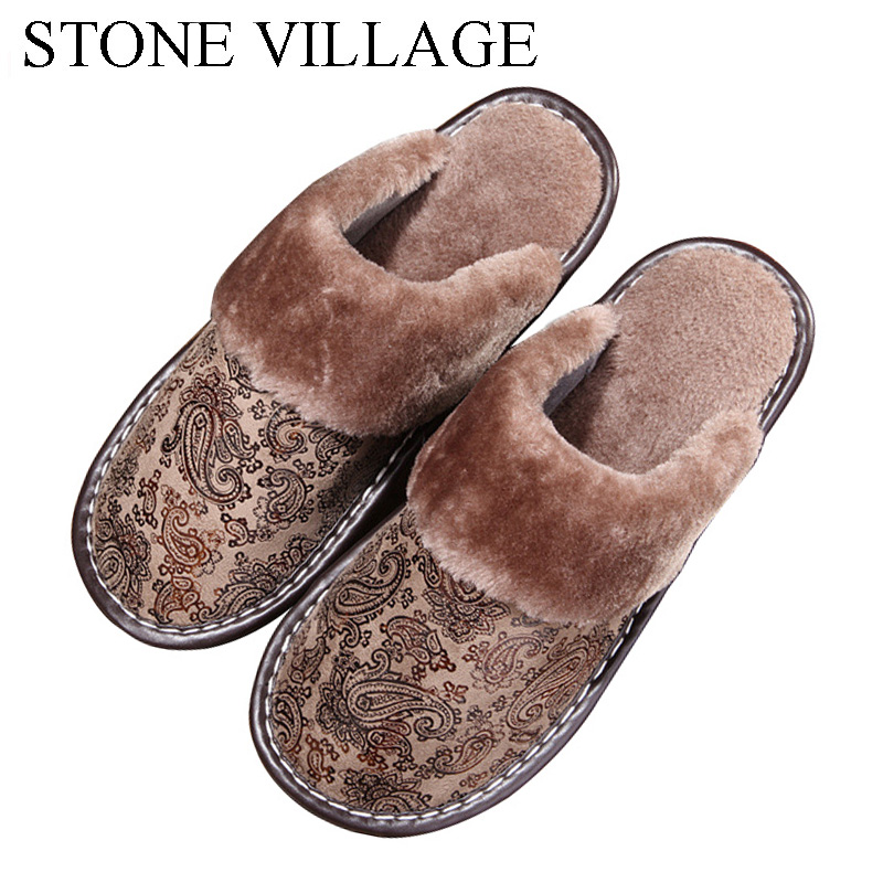 STONE VILLAGE Suede Printing Leather Slippers Shoes Men And Women Slippers Warm Plush Cotton Slippers Indoor Home Slippers Men fghgf shoes men s slippers mak