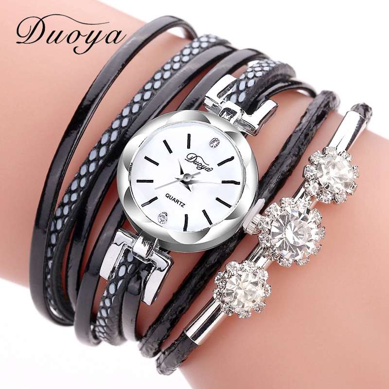 Duoya Brand Bracelet Watches For Women Luxury Silver Crystal Clock Quartz Watch Fashion Ladies Vintage Creative Wristwatches duoya fashion luxury women gold watches casual bracelet wristwatch fabric rhinestone strap quartz ladies wrist watch clock