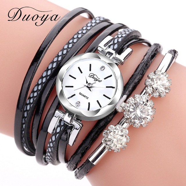 Duoya Brand Bracelet Watches For Women Luxury Silver Crystal Clock Quartz Watch
