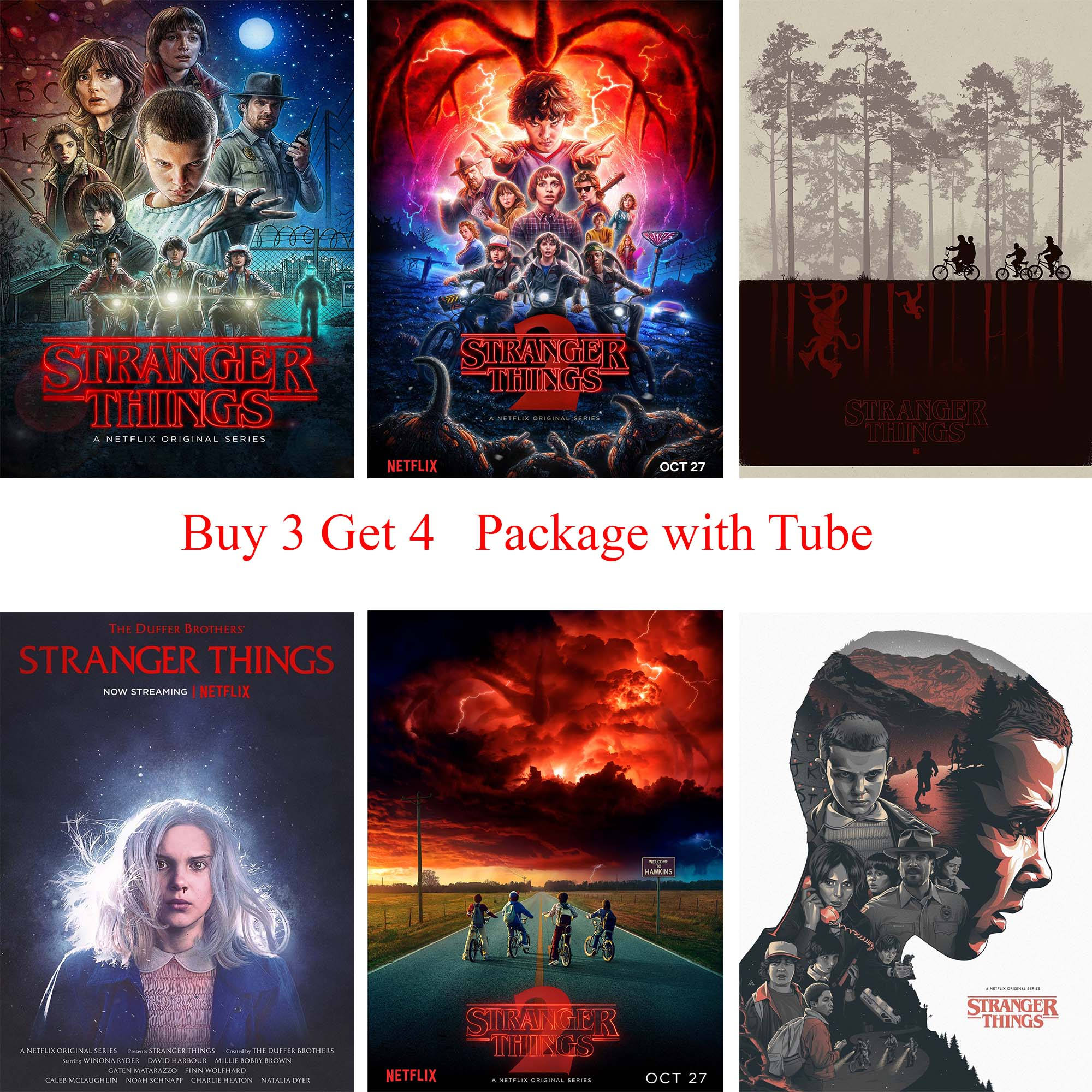 Stranger Things Season 2 Movie Posters Wall Stickers White Coated Paper Prints Home Decoration Home Art Brand rustica mini noce slate 12 in x 12 in x 8 mm porcelain mosaic tile backsplash images