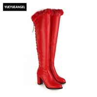Sweet Sexy Womens Over Knee Boots Female Side Zip Red Wedding Shoes Winter Ladies Shoes Zapatillas Mujer Chaussure Femme Laarzen