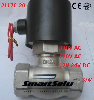 Free shipping 2L170-20 2Way NC Hi-Temp 3/4'' Stainless Steel Steam Electric Solenoid Valve PTFE AC 220V free shipping 2l500 50 2way nc hi temp 2 brass steam solenoid valve ptfe 110v ac