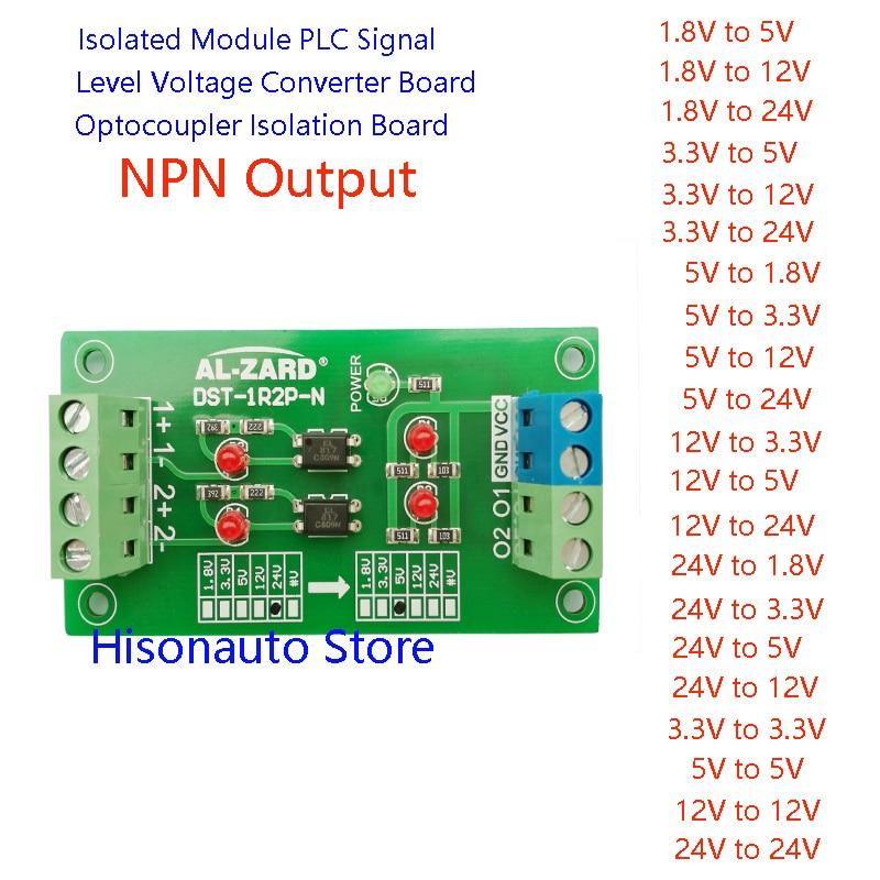 24V To 5V 12V To 3.3V 1.8V 2 Channel Optocoupler Isolation Board PLC Signal Level Voltage Conversion Module NPN Output