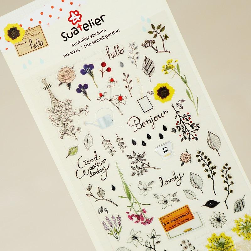 1 x SONIA Secret Garden  paper sticker DIY decorative sticker for album scrapbook kawaii stationery diary sticker1 x SONIA Secret Garden  paper sticker DIY decorative sticker for album scrapbook kawaii stationery diary sticker