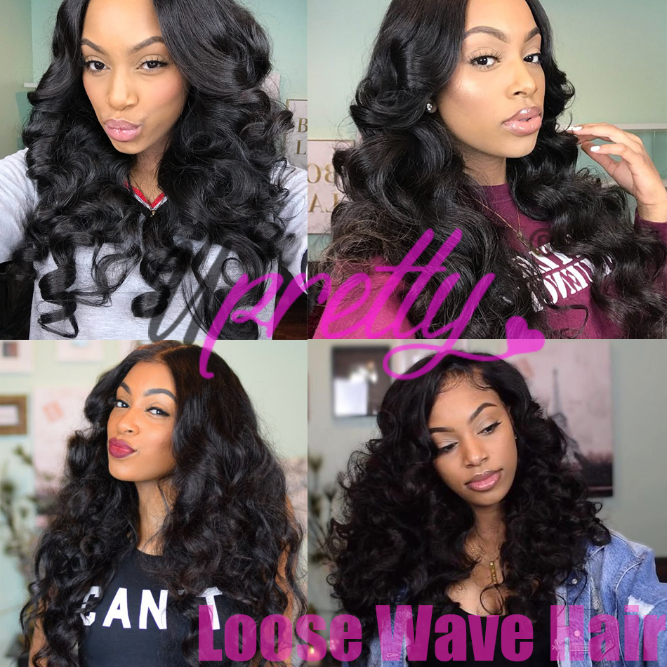 Upretty Hair Loose Wave Bundles With Lace Closure 6x6 5x5 Closure With Bundles Brazilian Remy Human Hair Bundles With Closure
