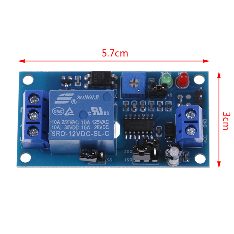 DC 12V Time Relay Module Normal Open Time Delay Relay Timing Timer Relay Control Switch Adjustable Potentiometer LED Indicator